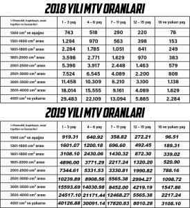 2019 MTV oranları