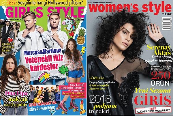 Girl's Style ve Women's Style Mart 2018 sayısı bayilerde