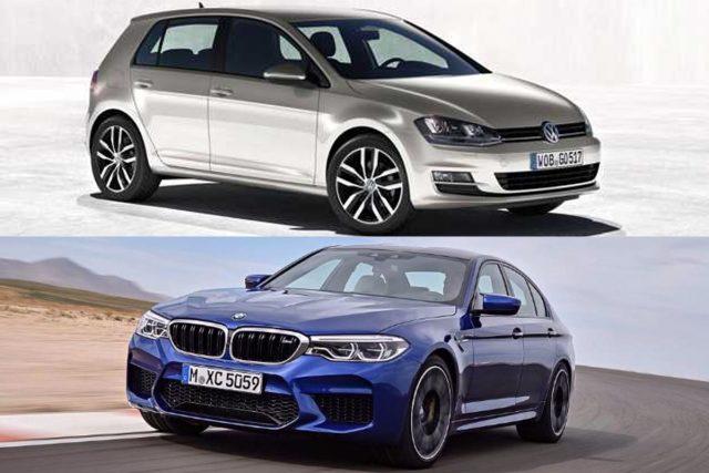 BMW M5 VW Golf karşılaştırma